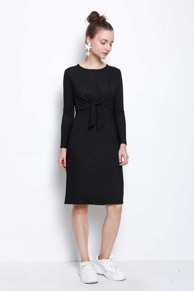 Ribbed Tied Front Long Sleeve Dress - Black