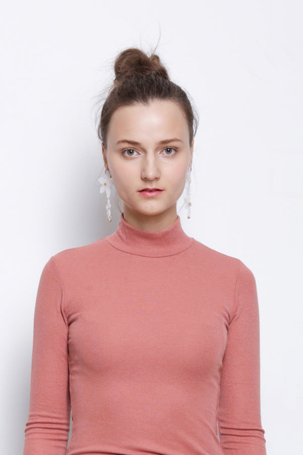 Ribbed Mock Neck Long Sleeve Blouse - Pink