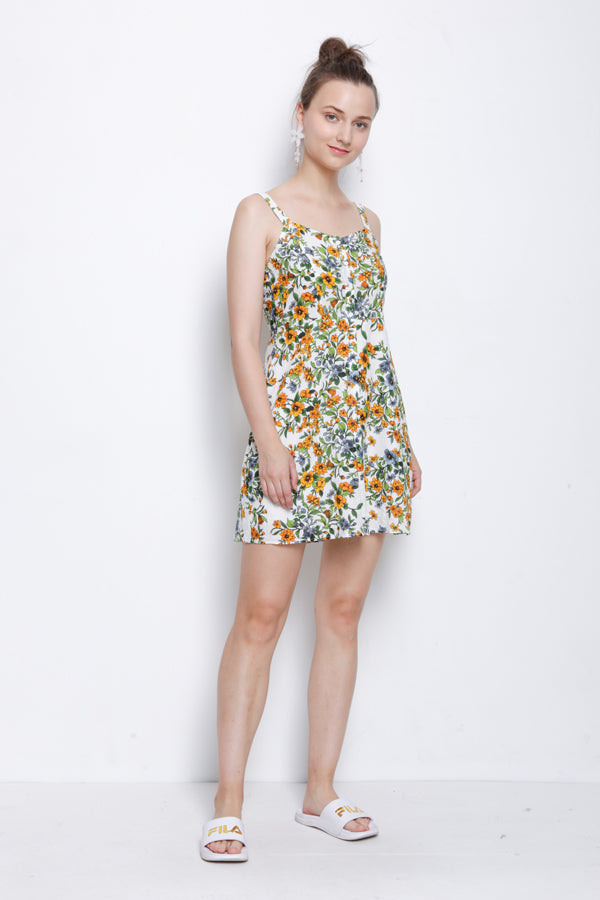 Women Floral Strap Dress - White