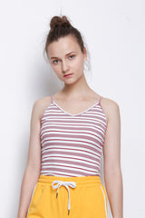 Stripe Ribbed Camisole Top - Maroon