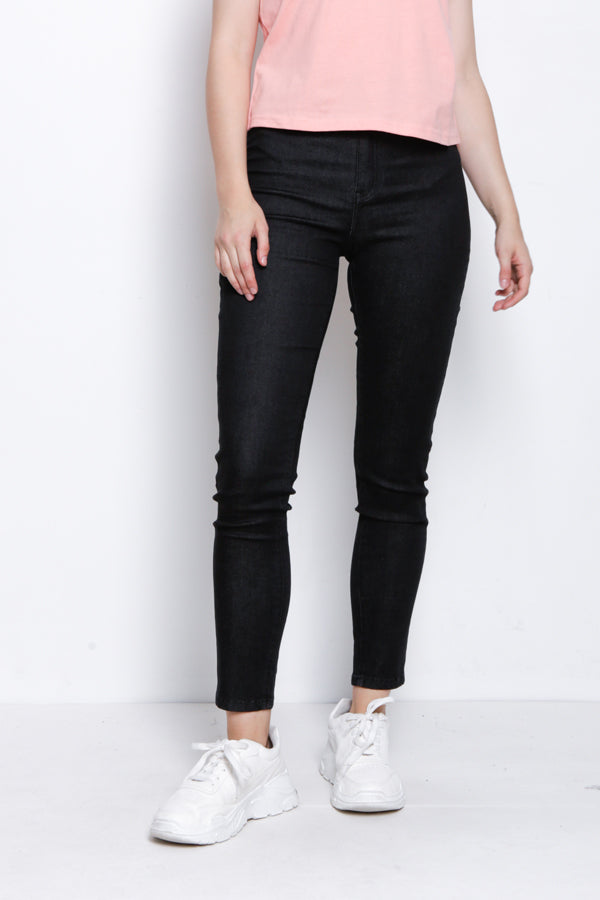 Women High Rise Skinny Long Jeans - Black