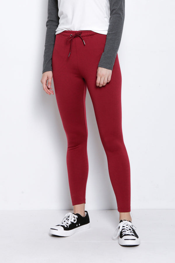 Legging With Drawstring - Maroon