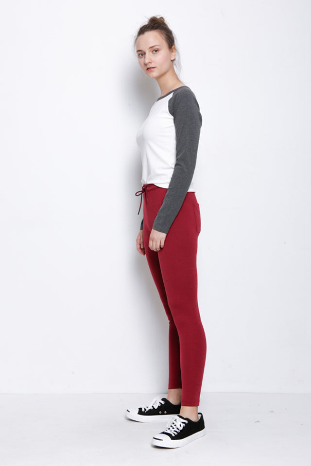 Women Legging With Drawstring - Maroon