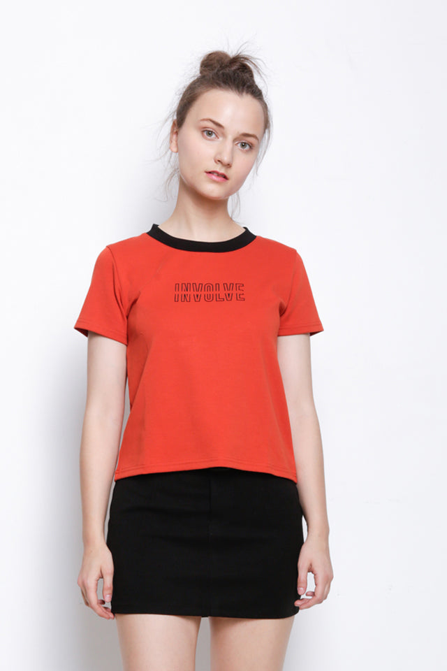 Knit Short Sleeve Blouse - Orange
