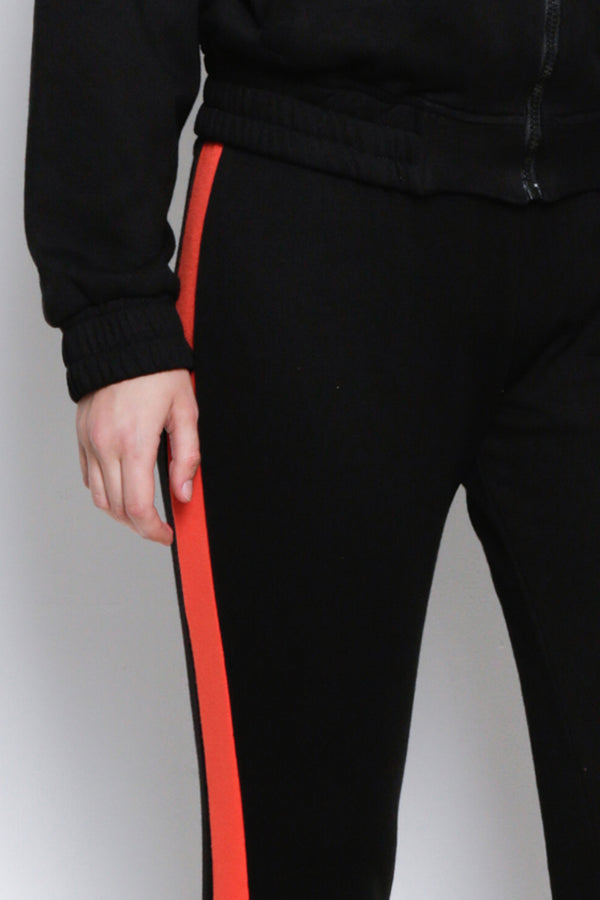 Long Knit Jogger With Side Stripe - Black