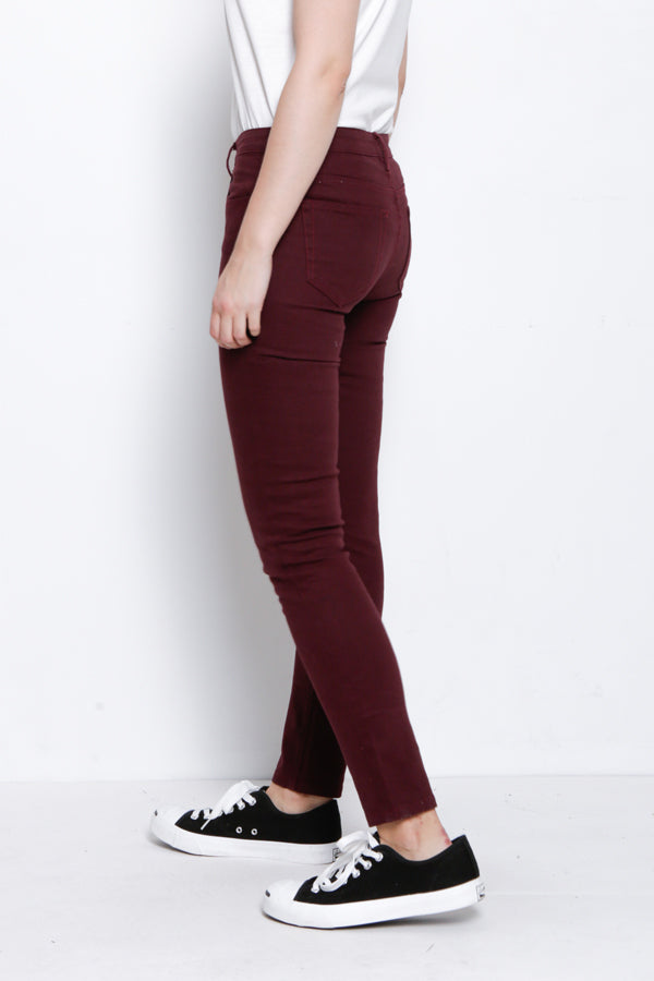 Slim Fit Long Jeans - Maroon