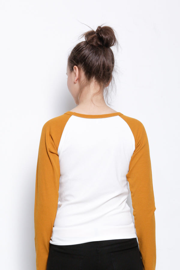 Long Sleeve Raglan Tee - Yellow