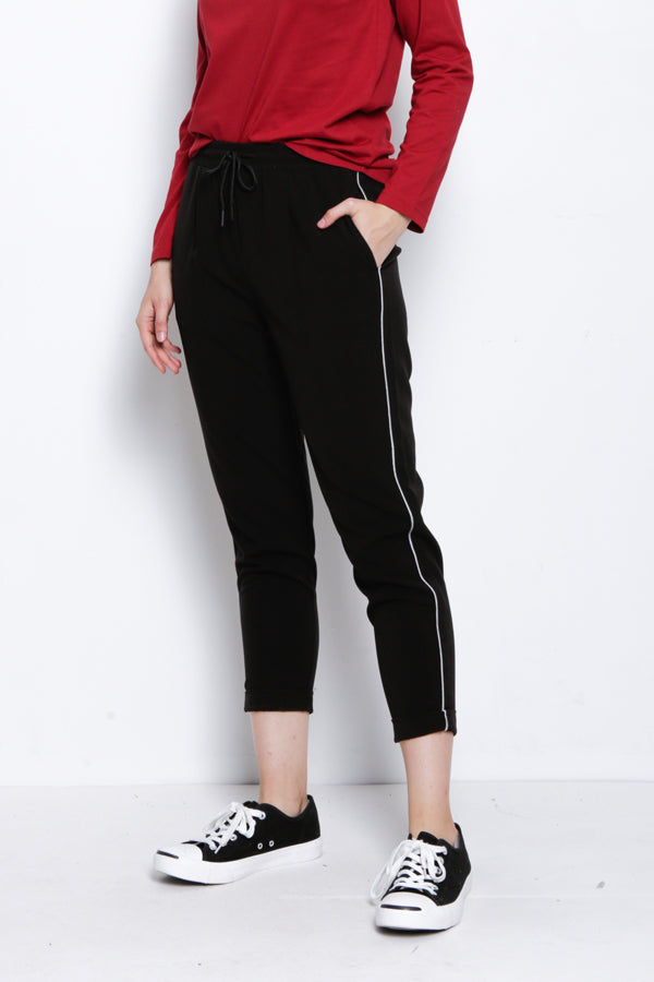 Straight Cut Long Pants - Black