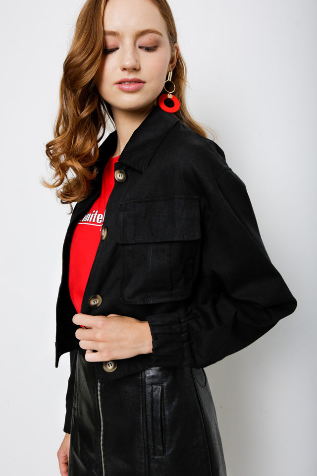 Women Denim Jacket - Black