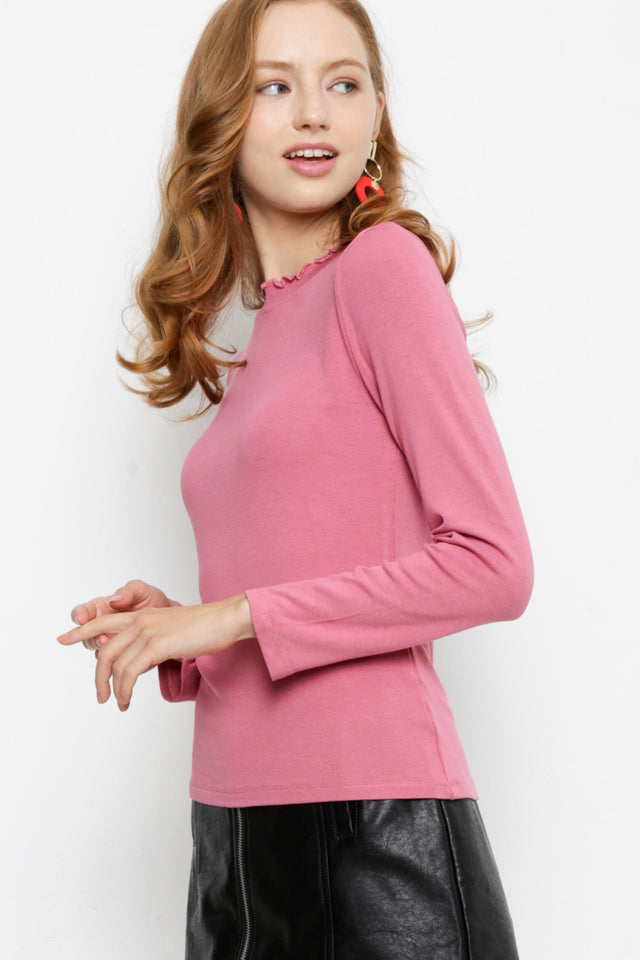 Ribbed Long Sleeve Blouse - Pink