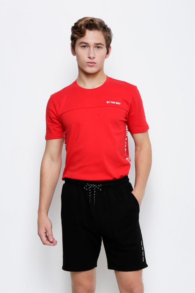 Cut & Sew Short Sleeve T-Shirt - Red