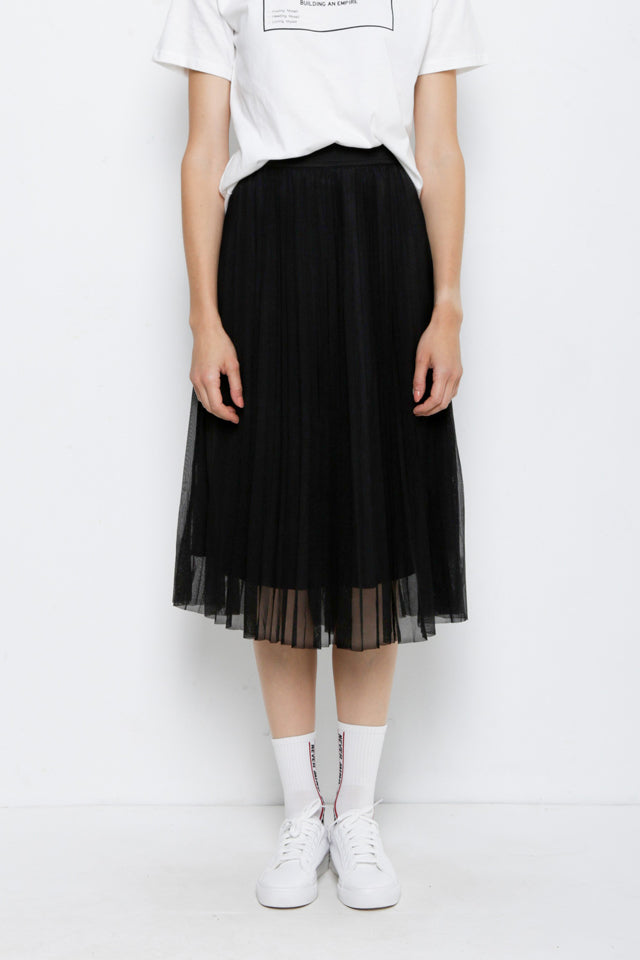 Tulle Midi Skirt - Black
