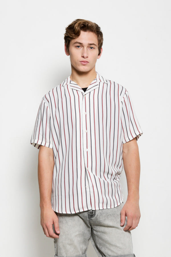Striped Short Sleeve Shirt - Off White