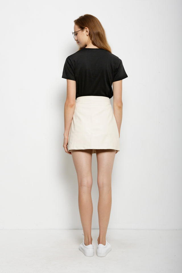 Women Trendy Zip Up Mini Skirt - Beige