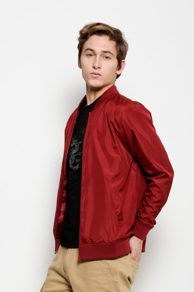 Men Nylon Bomber Jacket - Maroon - USH9H2062