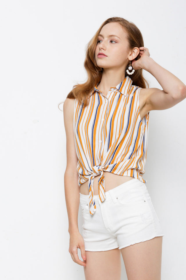 Women Stripe Tied Front Sleeveless Shirt - White