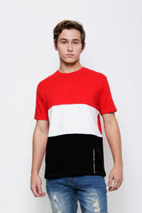 Cut & Sew Colour Block Short Sleeve Fashion Tee - Red