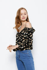 Floral Off Shoulder Woven Long Sleeve Blouse - Black