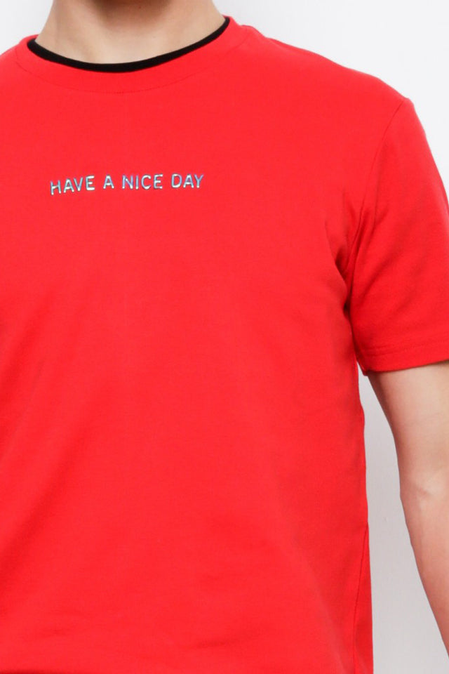 Short Sleeve Fashion Tee  - Red