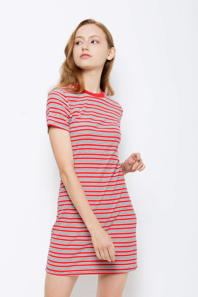 Women Striped Ribbed Tee Dress - Red