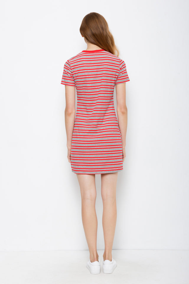 Striped Ribbed Tee Dress - Red