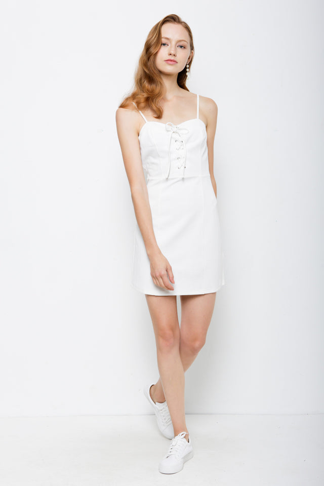 Women Strap Dress With Front Cross Tied - White - USH9F1883