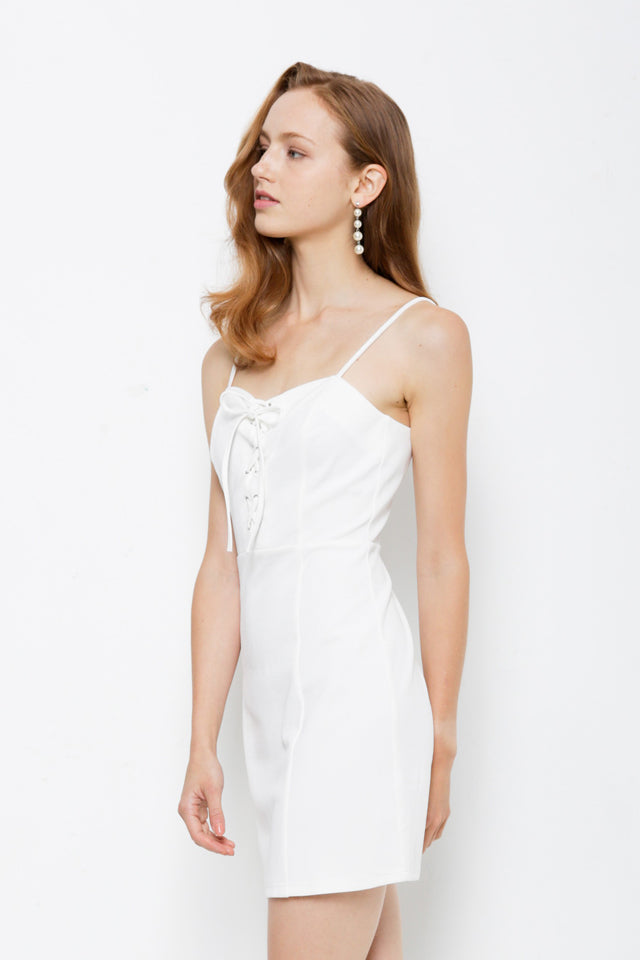 Strap Dress With Front Cross Tied - White