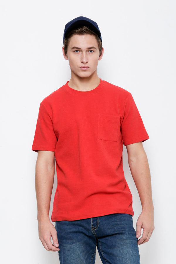 100% Cotton Plain Tee - Red
