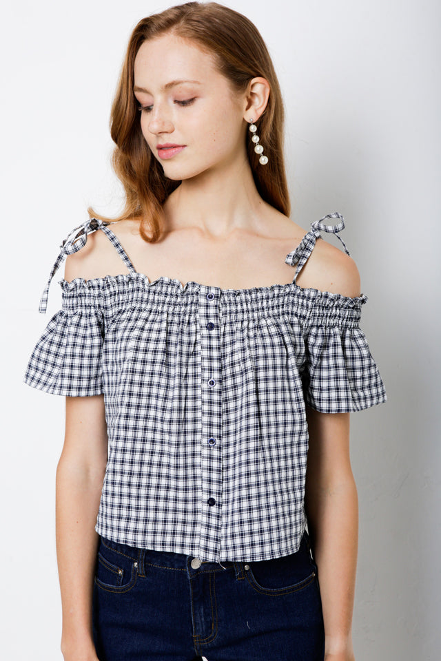 Woven Short Sleeve Blouse - NAVY