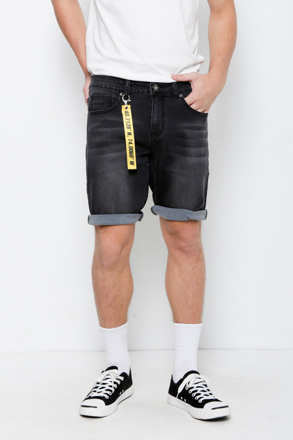 Denim Bermuda Shorts - Black