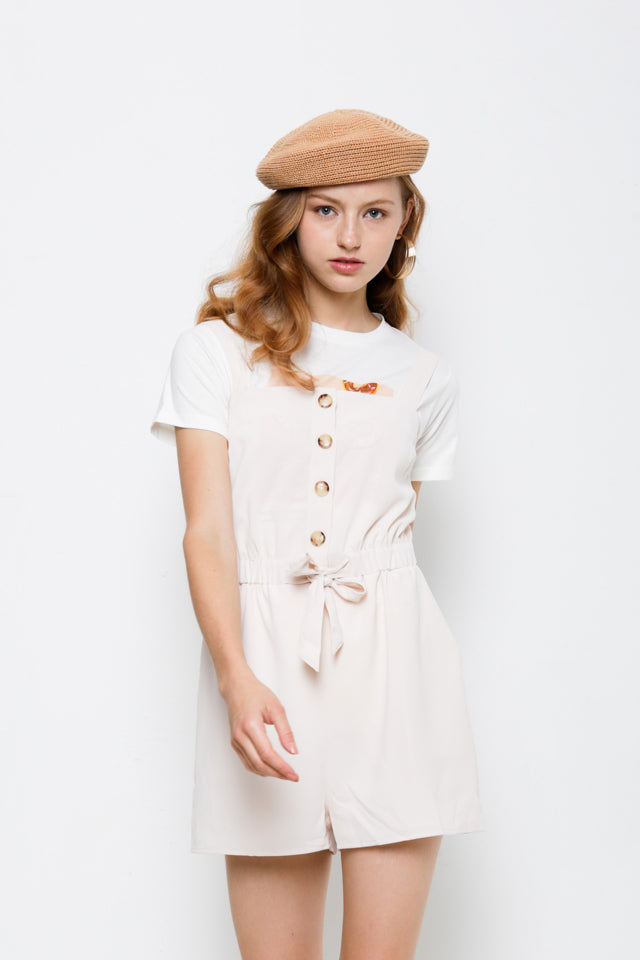 Strap Button Down Short Jumpsuit - Beige