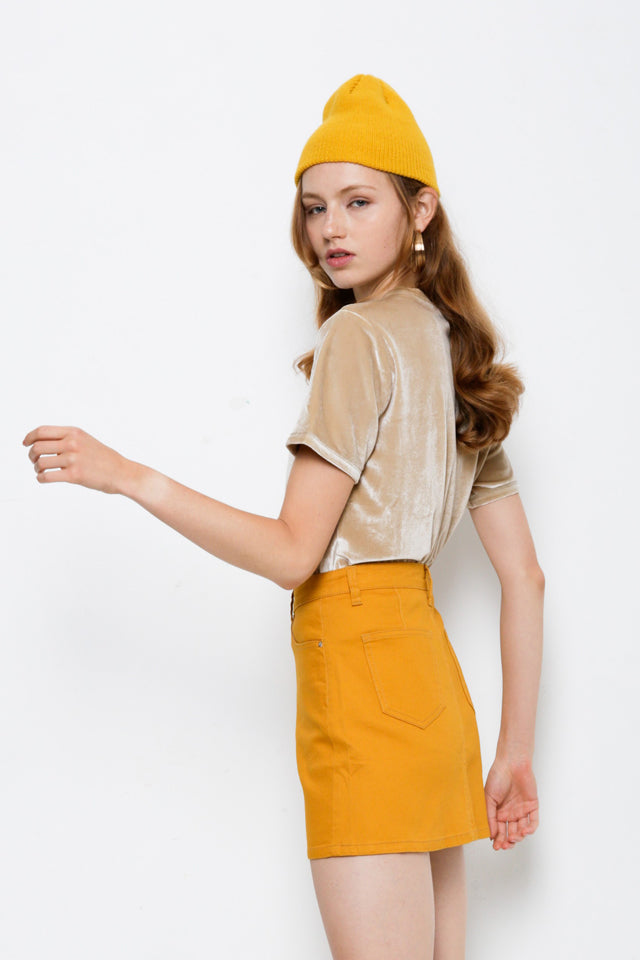 Denim Short Skirt - Yellow