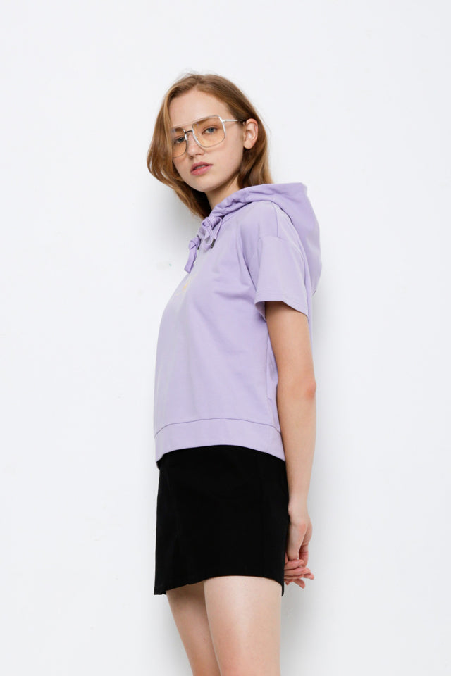 Graphic Short Sleeve Hoodie Sweartshirt - Purple