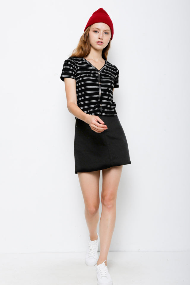 Striped Front Button Ribbed Blouse - Black