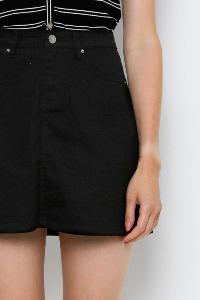 Denim Short Skirt - Black