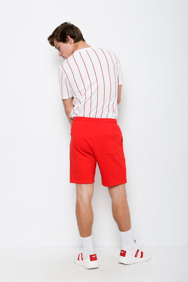 Men Short Knit Jogger - Red