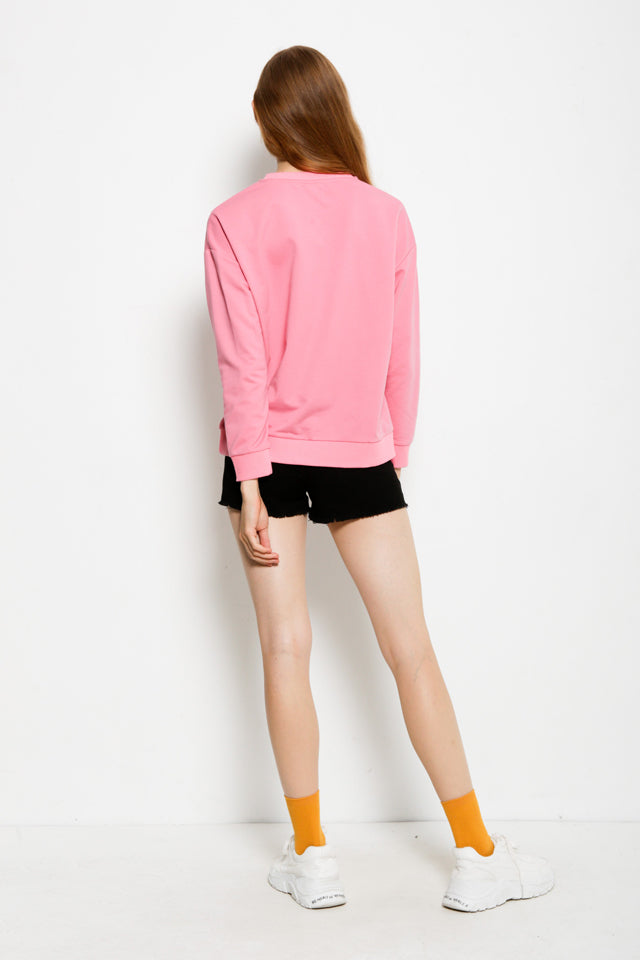 Graphic Long Sleeve Sweatshirt - Pink