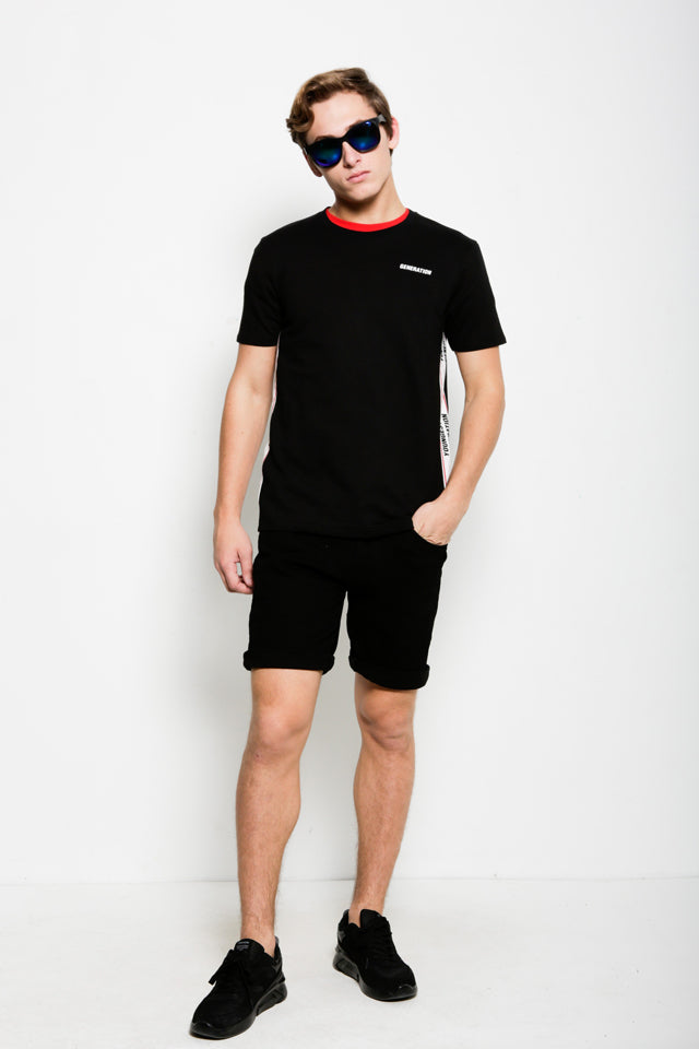 Graphic Short Sleeve Tee  - Black