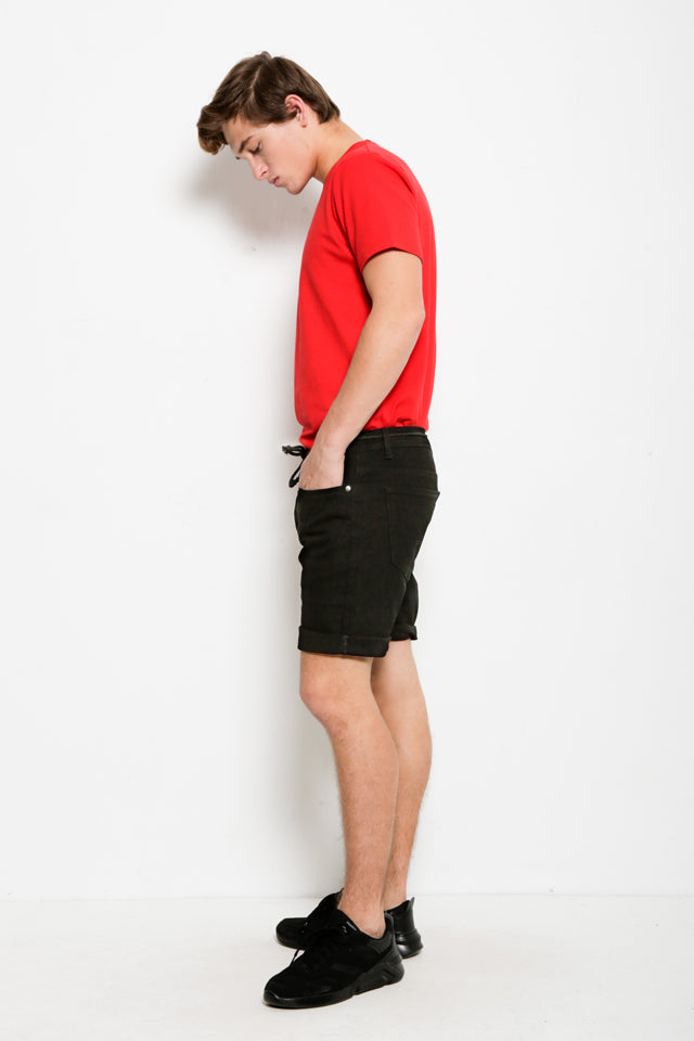 Men Denim Bermuda Shorts - Black