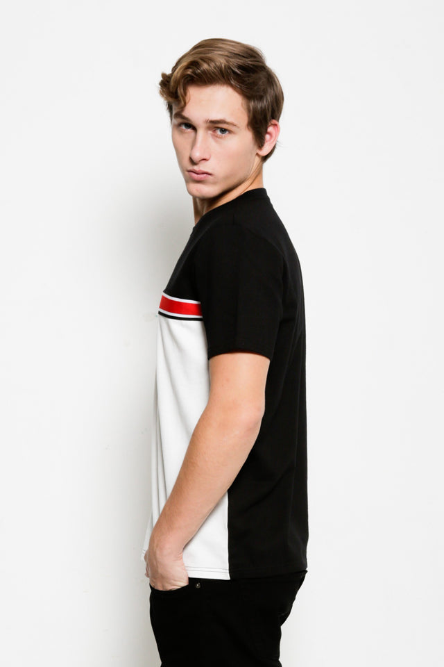 Short Sleeve Taping T-Shirt  - Black