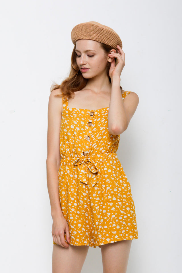 Strap Button Down Short Jumpsuit - Yellow