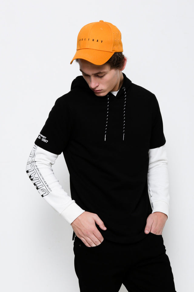 Short Sleeve Graphic Hoodie Sweatshirt - Black