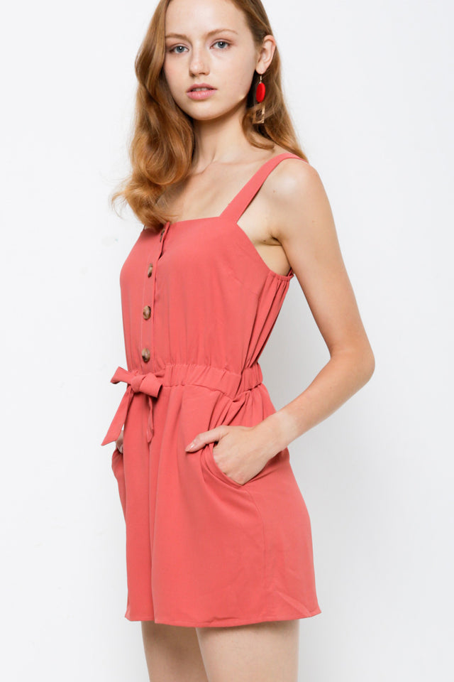 Strap Button Down Short Jumpsuit - Pink