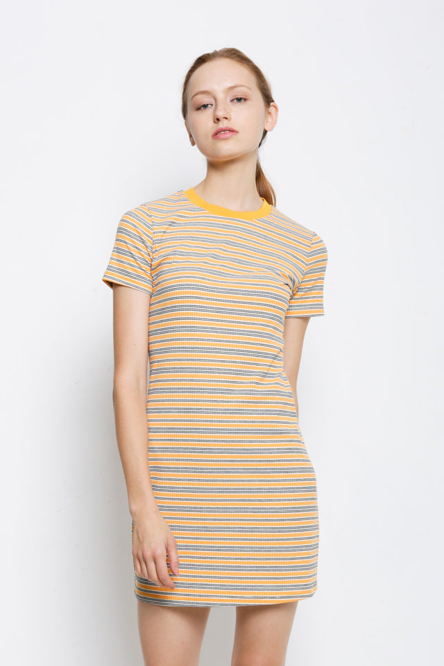 Striped Ribbed Tee Dress - Yellow