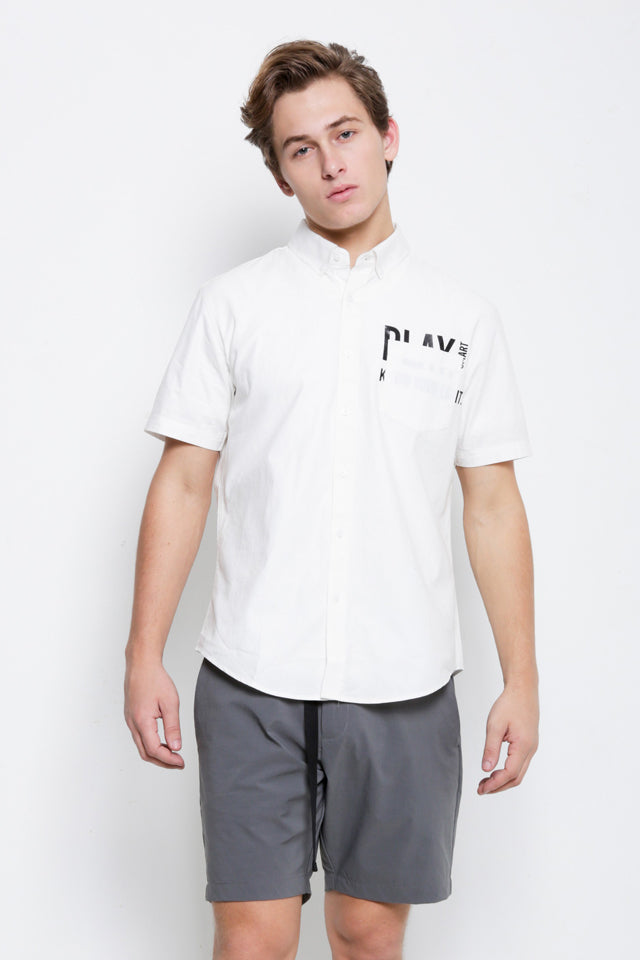 Graphic Casual Short Sleeve Shirt - White