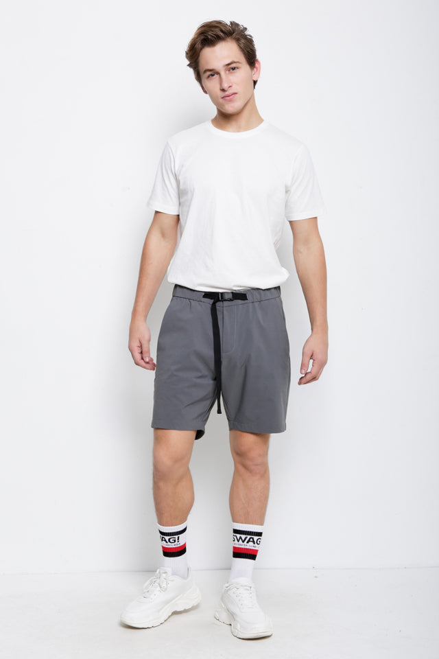 Short Pants With Belt - Light Grey