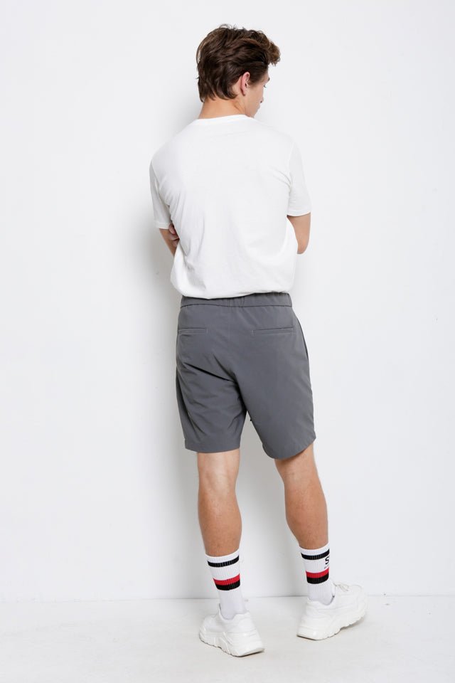 Men Short Pants With Belt - Light Grey - KQH9H2044