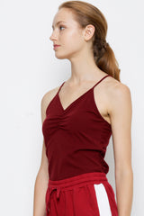 Adjustable Strap Gathered Camisole - Maroon