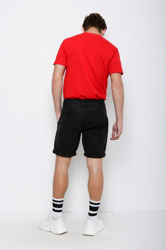 Men Cotton Short Pants - Black - KQH9H2108