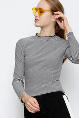 Ribbed Long Sleeve Blouse - Black